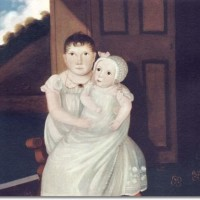 american-folk-art-painting-portrait-by-unknown-artist-two-children-1815-16-x-20-approximate-original-size-in-inches