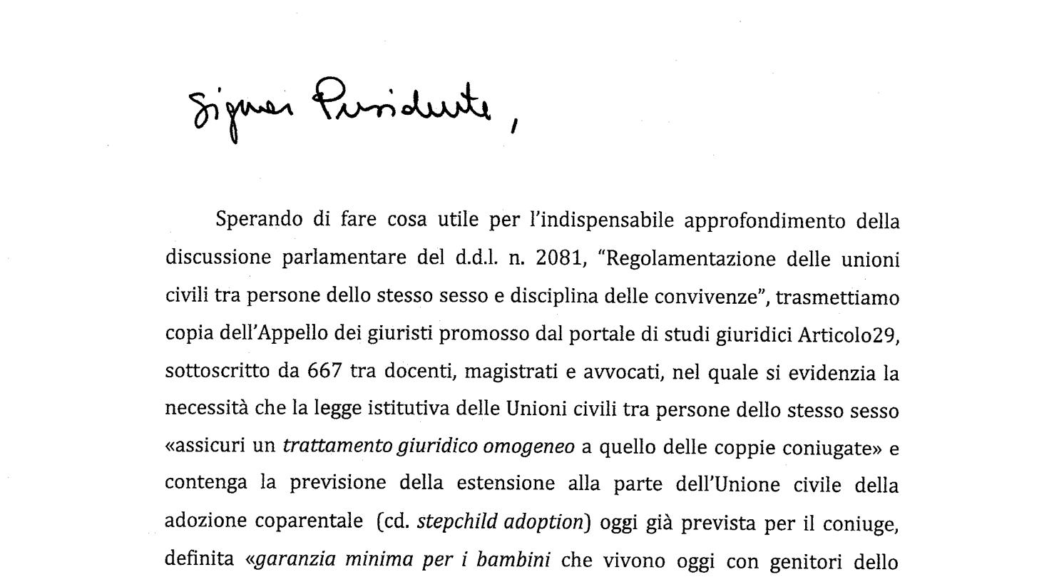 LETTERA Presidente Mattarella x